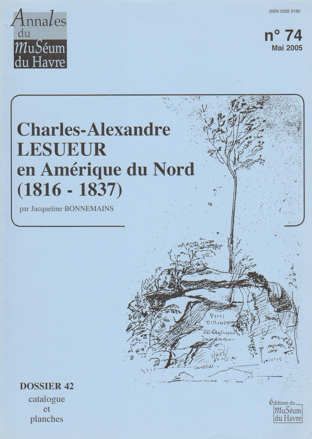 Cover of catalogue 42, Lesueur in North America, by Jacqueline Bonnemains